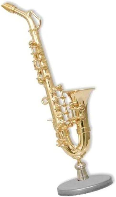 Mini SAXOFÓN de metal. Instrumento musical decorativo con peana y ...