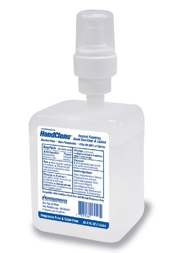 Alcohol Free Instant Hand Sanitizer - HandClens Alcohol-Free Instant Hand Sanitizer 1000ML Cartridge,  Hypoallergenic-Color Free-Fragrance Free, 33.8 fl oz.