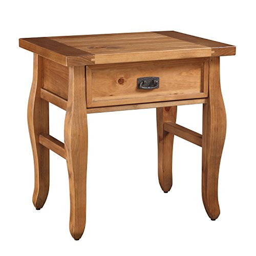Distressed Natural Finish Pine Wood End Table by Three Posts