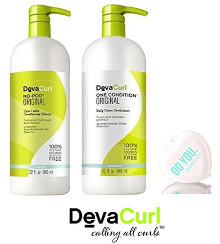 Price comparison product image DevaCurl ORIGINAL No-Poo Zero-Lather Cleanser & One Condition Daily Cream Conditioner DUO Set (with Sleek Compact Mirror) (Original - 32 oz Large Liter Duo Set)