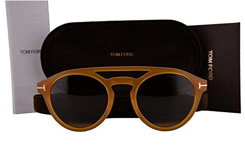 Tom Ford FT0537 Clint Sunglasses Brown Crystal w/Brown Lens 41E TF537 (Tom Ford Round Eye Glasses)