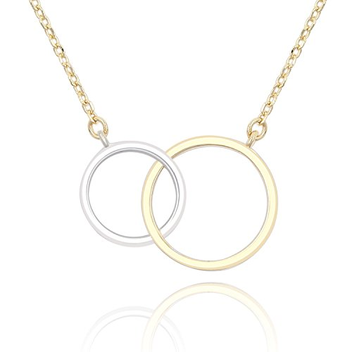 Lancharmed S925 Sterling Silver Double Ring Necklace Two Circles Pendant Necklace for Women Girls ()