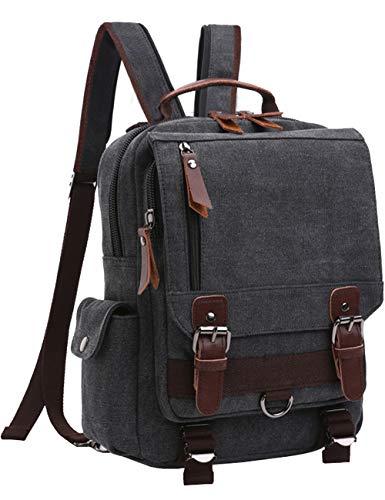 Mygreen Sling Canvas Cross Body 13-inch Laptop Messenger Bag Shoulder Backpack (Black-Zipper Shoulder)