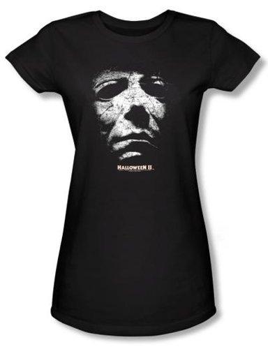 Halloween II Juniors T-shirt Movie Michael Myers Black Tee Shirt, Small