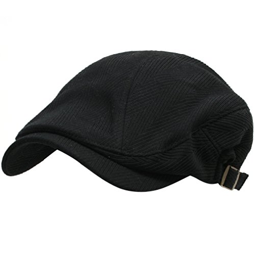 ililily New Men's Gentlemanly Flat Cap Cabbie Hat Gatsby Ivy Caps Irish Hunting Hats Newsboy with Strap on both sides - 002-1 (Waxed Cotton Irish Cap compare prices)