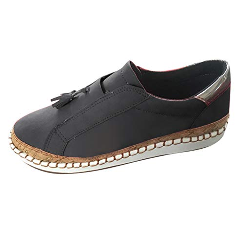 TnaIolral Ladies Summer Shoes Fashion Flats Tassel Round Toe Casual Non-Slip Breathable Sneakers (US:7.5-8, Black)