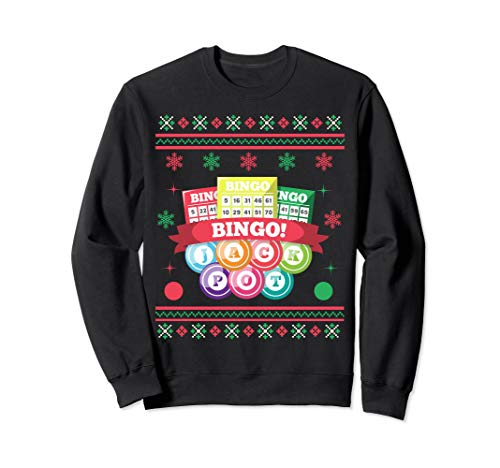 Bingo Ugly Christmas Sweatshirt Jackpot Card Game