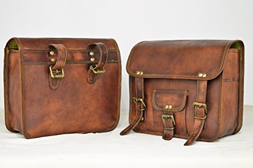 Handmade Bag Wala Saddle Bags Motorcycle Two Side Pouch Brown Leather Pouch Saddle Panniers (2 Bags) by Handmade Bag Wala (Image #5)