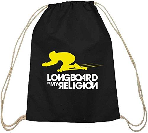 Longboard Is My Religion, Skateboard Baumwoll natur Turnbeutel Rucksack Sport Beutel schwarz natur