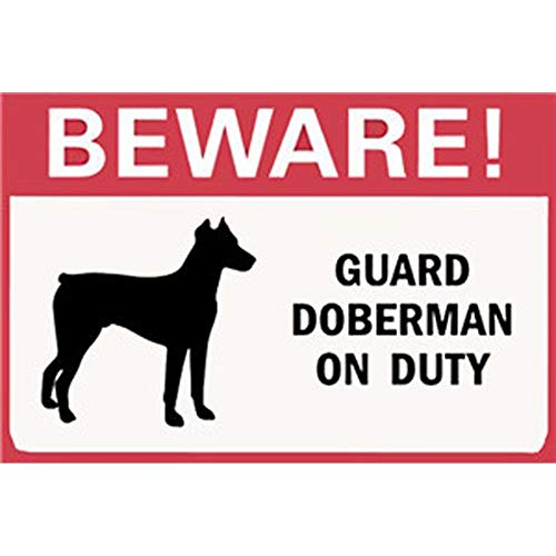 Florlife 20x30 cm Metal Signs Dog Beware Guard Doberman on Duty Tin Signs Wall Decor ()