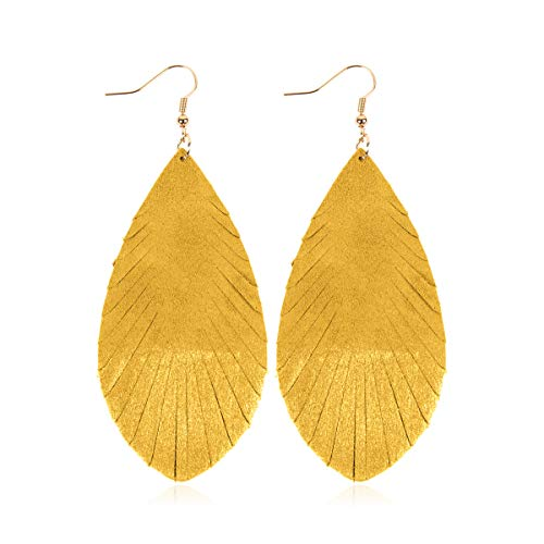 - Bohemian Genuine Suede Real Leather Drop Earrings - Lightweight Feather Shape Tassel Dangles Fringe Leaf, Angel Wing (Teardrop Feather Brushstroke - Yellow/Silver, 3)