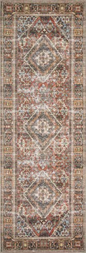 Loloi Loren Collection Vintage Printed Persian Area Rug 2'-6' x 7'-6' Runner Brick/Midnight