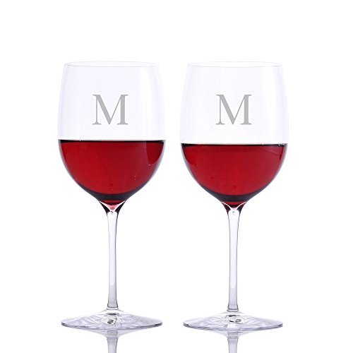 Personalized Waterford Elegance Red Wine Bordeaux Glass 2pc. Set Engraved & Monogrammed - Great Gift for Father's Day, Weddings and Groomsmen