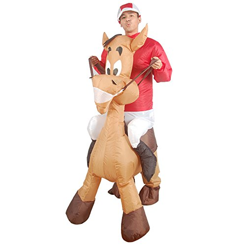 Cowboy Ride on Donkey Inflatable Costumes for Adult Party Dress Brown