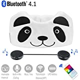 Kids Headphones, Azzker Wireless Bluetooth V4.1 Hands-Free Soft Headband with Ultra-Thin Stereo Speakers and Mic Childrens Earphones for Calls, School, Home and Travel-Panda