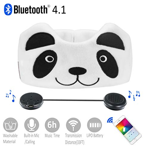 Kids Headphones, Azzker Wireless Bluetooth V4.1 Hands-Free Soft Headband with Ultra-Thin Stereo Speakers and Mic Children's Earphones for Calls, School, Home and Travel-Panda by Azzker