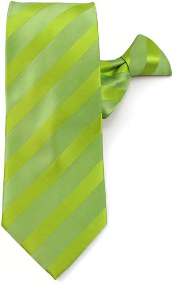 Lime Jacob Alexander Mens Stripe Tonal Clip-On Neck Tie