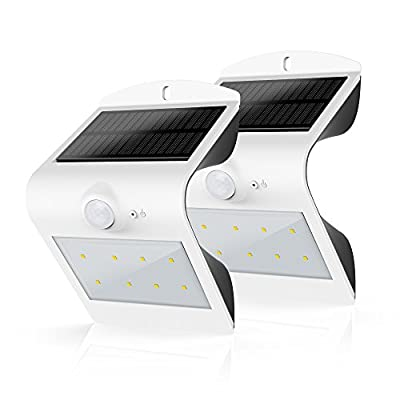 Honesteast Solar Lights Outdoor Security Lighting Solar Powered Motion Sensor Wall Light (White-2 Pack)