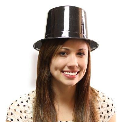 Black Plastic Top Hats - 12 (Party City Top Hat)