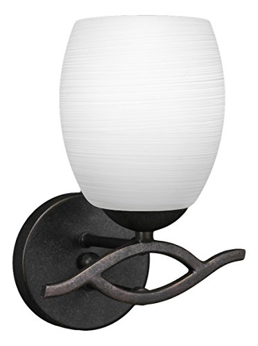 Toltec Lighting 141-DG-615 Revo Wall Sconce with 5″ White Linen Glass, Dark Granite Finish