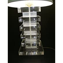 Lucite Acrylic Table Night Lamp Unique New Style Handmade (Clear & frosted)