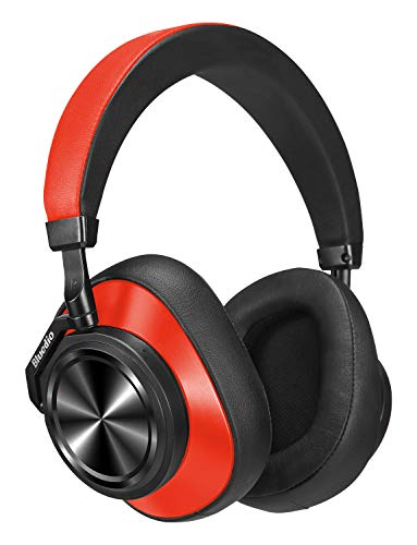 Bluedio T6 (Turbine) Active Noise Canceling Headphones Voice Control, Wireless Bluetooth Headset w/Mic Over Ear, Cloud Service, 57 mm Drivers, 25 Hours Playtime Cell Phone/PC (Red)