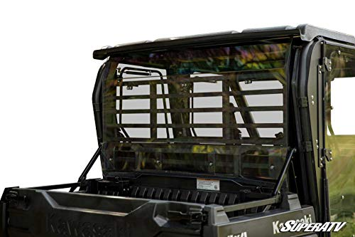 SuperATV Heavy Duty Light Tinted Rear Windshield for Kawasaki Mule Pro FXT/DXT (2015+) - 250x Stronger Than Glass! ()