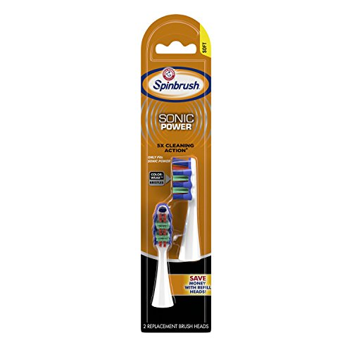 - ARM & HAMMER Spinbrush PRO+ Sonic Power Replacement Brush Heads, Soft, 2 Count
