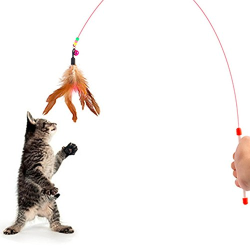 (Topbeu Fun Pet Cat Toy Steel Wire Feather Training Teaser Wand)