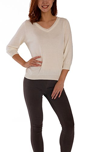 - TEX & FREE Women Lace up V Neck Ragular Fit 3/4 Sleeve Silk Knit Casual Pullover Sweater Tops