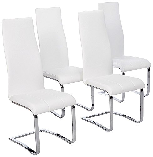 - Faux Leather Dining Chairs Chrome and White (Set of 4)