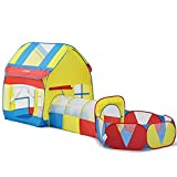 Kids Playhouse Adventure Play Tent Indoor or Outdoor Tunnel Pool 3 Pieces Set - [No Ball]