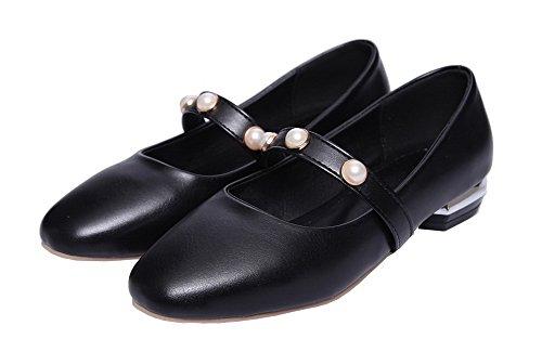 AgooLar Damen Weiches Material Ziehen auf Niedriger Absatz Rein Pumps Schuhe Schwarz