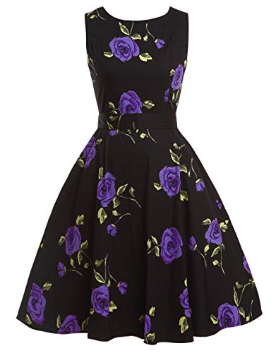 (FAIRY COUPLE 50s Vintage Retro Floral Cocktail Swing Party Dress with Bow DRT017(S, Black Rose Floral))
