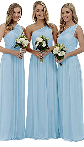 YORFORMALS Women's One-Shoulder Ruched Chiffon Evening Party Gown Long Bridesmaid Dress Size...
