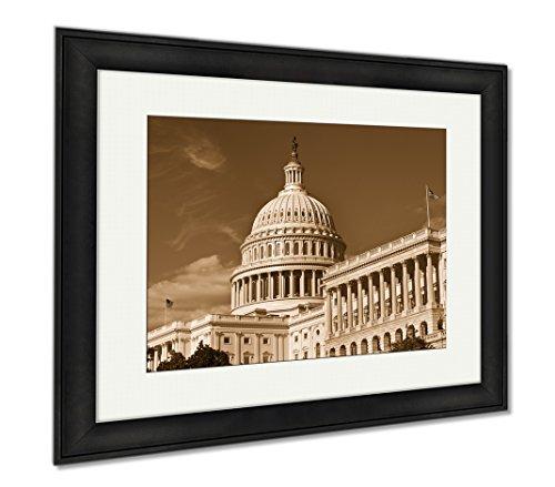 Ashley Framed Prints U S Capital Building, Wall Art Home Decoration, Sepia, 26x30 (frame size), Black Frame, - Hill Mall Capital
