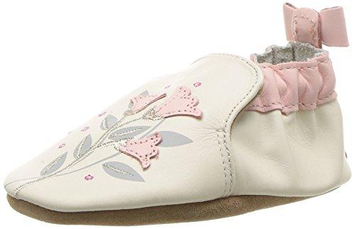 Shoes Leather Infant (Robeez Girls' Rosealean Crib Shoe, Rosealean Cream, 6-12 Months M US Infant)