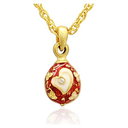 MYD Jewelry Silver or Gold Plating Mini Heart Faberge Egg Pendant Necklace (G red)