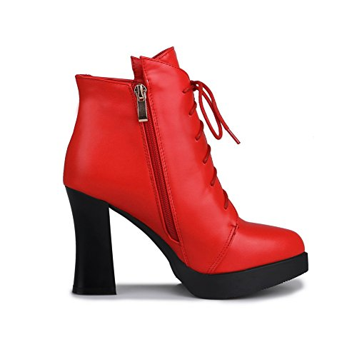 AllhqFashion Mujeres Cremallera Tacón ancho Tachonado Tobillo Botas Rojo