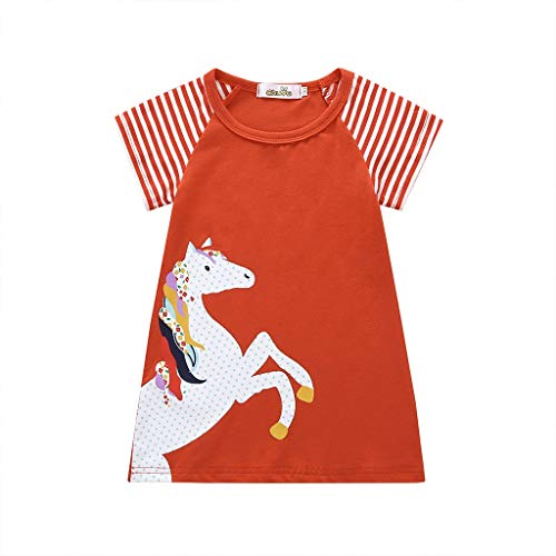 Clothful Woman Dress, Toddler Baby Girl Kid Cartoon Clothes Horse Stripe Print Princess Party Dress Orange