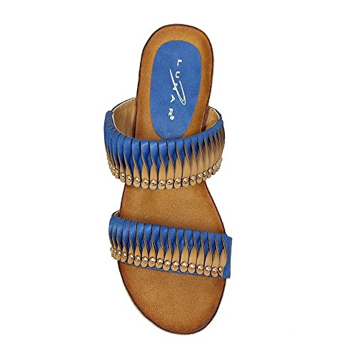ZAFIRO BOUTIQUE JLH722 Dayton Mujer Tachuelas Doradas Retorcido Contraste Correa Sandalias Cuña Baja Azul