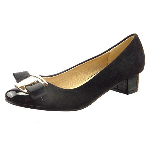 Sopily - Scarpe da Moda ballerina alla caviglia donna fibbia Tacco a blocco 3 CM - Nero
