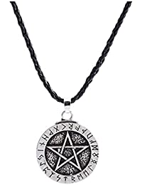 Pendant Necklace Large Rune Nordic Viking Pentagram Jewelry Wiccan Pagan Norse