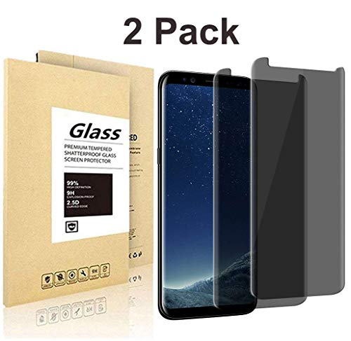 [2 Pack] Galaxy S8 Plus Privacy Screen Protector, AIKIN [HD][Anti-Spy][Anti-Scratch] [Bubble Free][9H Hardness] Tempered Glass Screen Protector for Galaxy S8 Plus/S8+ 3D Curve Edge