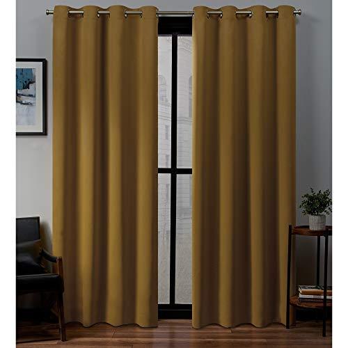 n Woven Blackout Grommet Top Curtain Panel Pair, Honey Gold, 52x96, 2 Piece ()