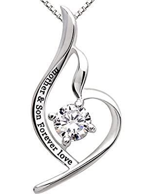 "ALOV Jewelry Sterling Silver ""mother & son forever love"" Pendant Necklace"