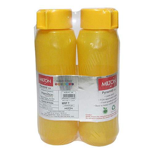 Pyramid Water Bottle - Milton Pyramid, 300 ML Pet Leak Proof Water Bottle Set Of 2 (Yellow)