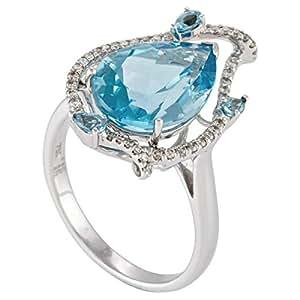 Inspire Jewels Women's 18K White Gold Diamond & Blue Topaz Ring - IJ0137, Size 7 US