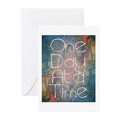 CafePress One Day At A Time Abstract Art Greeting Cards Greeting Card, Note Card, Birthday Card, Blank Inside Matte ()