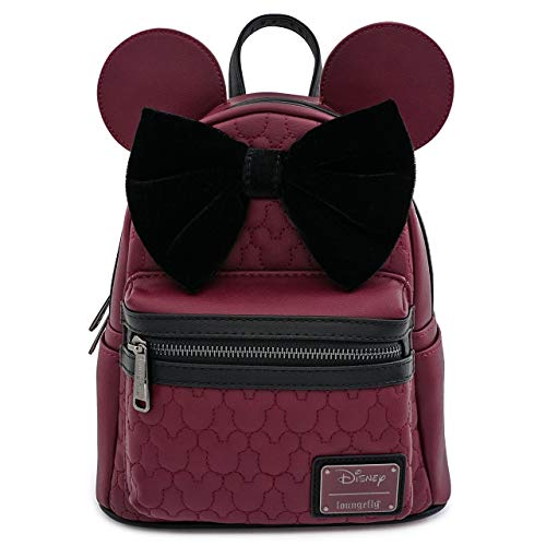 Loungefly x Minnie Mouse Quilted Faux-Leather Mini Backpack with Velvet Bow
